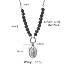 Load image into Gallery viewer, GUNGNEER Stainless Steel Virgin Mary Pendant Necklace Lava Bead Chain Christian Jewelry