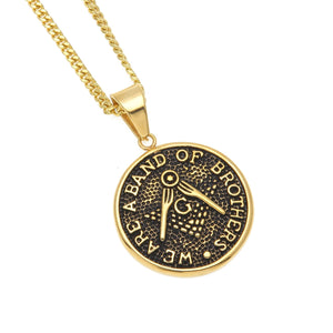 GUNGNEER Freemason Pendant Necklace Band Of Brother Stainless Steel Mason Necklace For Men