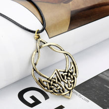 Load image into Gallery viewer, GUNGNEER Celtic Trinity Knots Infinity Stainless Steel Pendant Necklace Cord Chain Jewelry