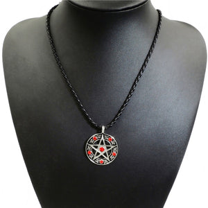 GUNGNEER Wicca Pentagram Star Cubic Zirconia Necklace Stainless Steel Curb Bracelet Jewelry Set