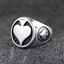 Load image into Gallery viewer, GUNGNEER Stainless Steel Poker Ace of Spade Ring Punk Biker Cool Jewelry for Men Women