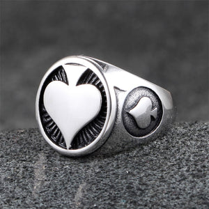 GUNGNEER Stainless Steel Poker Ace of Spade Ring Punk Biker Cool Jewelry for Men Women