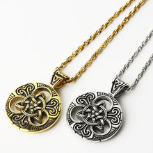 Load image into Gallery viewer, GUNGNEER Triquetra Celtic Knot Stainless Steel Necklace Opening Cuff Charm Bangles Jewelry Set