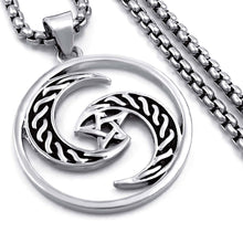 Load image into Gallery viewer, GUNGNEER Crescent Moon Pentagram Wicca Stainless Steel Pendant Necklace Band Ring Jewelry Set
