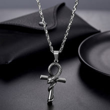 Load image into Gallery viewer, GUNGNEER Egyptian Ankh Cross Snake Necklace Link Chain Bracelet Stainless Steel Jewelry Set