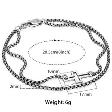 Load image into Gallery viewer, GUNGNEER Stainless Steel Cross Charm Bracelet Box Chain Jesus Jewelry Gift For Men Women