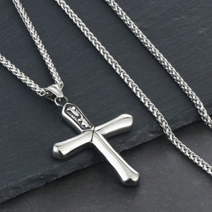 GUNGNEER Stainless Steel Christian Cross Pendant Necklace Jesus Jewelry For Men Women