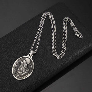 GUNGNEER Stainless Steel Viking Howling Wolf Pendant Necklace with Bangle Jewelry Set Men