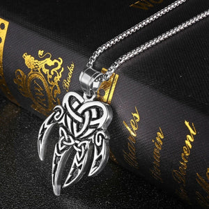 GUNGNEER Stainless Steel Viking Bear Paw Irish Celtic Knot Triquetra Pendant Necklace Jewelry
