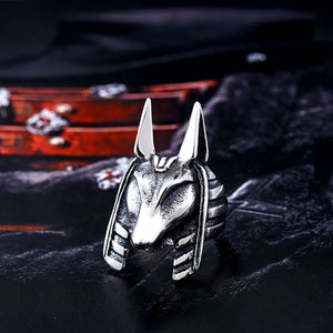 GUNGNEER Egypt God Anubis Ring Leather Bracelet Stainless Steel Egyptian Pyramid Jewelry Set