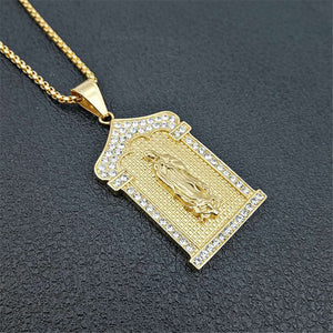 GUNGNEER Christian Miraculous Iced Out Virgin Mary Pendant Necklace Stainless Steel Jewelry