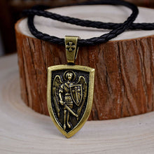 Load image into Gallery viewer, GUNGNEER Black Rope Chain St Michael Necklace Women's Men's Jewelry Accessory Gift