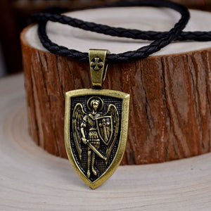 GUNGNEER Black Rope Chain St Michael Necklace Women's Men's Jewelry Accessory Gift