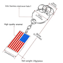 Load image into Gallery viewer, GUNGNEER Stainless Steel USA American Flag Keychain Ring Chain Accessories Gift Men Women