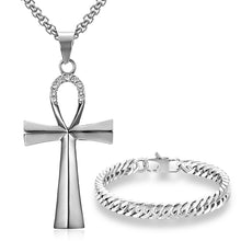 Load image into Gallery viewer, GUNGNEER Egyptian Ankh Cross Necklace Cuban Chain Bracelet Stainless Steel Pyramid Jewelry Set