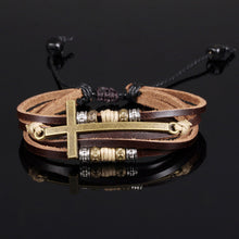 Load image into Gallery viewer, GUNGNEER Jesus Cross Bracelet Multilayer Leather Christian Jewelry Accessory For Men Women
