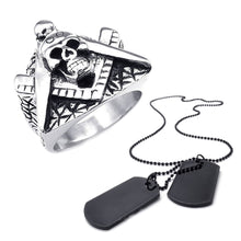 Load image into Gallery viewer, GUNGNEER Stainless Steel Skull Masonic Ring For Men Black Dog Tag Necklace Jewelry Set
