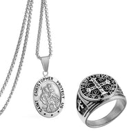 GUNGNEER Stainless Steel St Christopher Necklace Faith Cross Ring Prayer Protect Us Jewelry Set