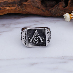 GUNGNEERMasonic Ring Multi-size Stainless Steel Freemason Biker Ring For Men Jewelry Set