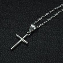 Load image into Gallery viewer, GUNGNEER Stainless Steel Cross Pendant Necklace Christian Chain Jewelry For Men Women