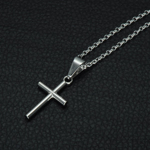 GUNGNEER Stainless Steel Cross Pendant Necklace Christian Chain Jewelry For Men Women