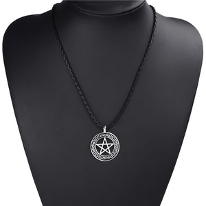 GUNGNEER Stainless Steel Celtic Wicca Pentagram Pentacle Pendant Necklace Band Ring Jewelry Set