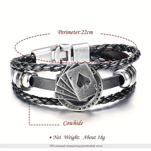 GUNGNEER Stainless Steel Lucky Spade Straight Flush Poker Card Leather Bracelet Punk Jewelry