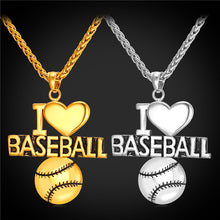 Load image into Gallery viewer, GUNGNEER I Love Baseball Necklace Stainless Steel Sport Jewelry Accessory For Men Women
