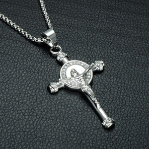 GUNGNEER Jesus On Cross Pendant Necklace Christian Chain Jewelry Accessory For Men Women
