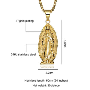 GUNGNEER Stainless Steel Classic Mother of God Virgin Mary Pendant Necklace Jewelry Men Women