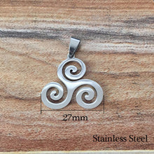 Load image into Gallery viewer, GUNGNEER Celtic Triskele Triskelion Stainless Steel Pendant Necklace Jewelry Accessories Gift