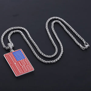 GUNGNEER Stainless Steel National US American Flag Pendant Necklace Women Men Patriotic Jewelry