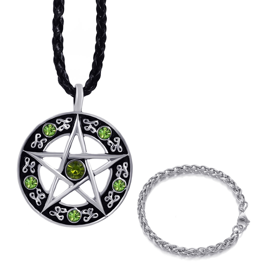 GUNGNEER Green Cubic Zirconia Pentacle Pentagram Pagan Necklace Wheat Chain Bracelet Jewelry Set