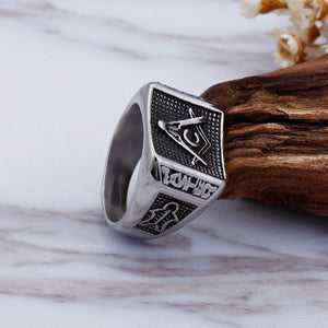 GUNGNEER Masonic Ring Multi-size Stainless Steel Freemason Biker Ring For Men
