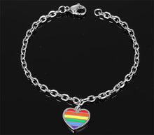 Load image into Gallery viewer, GUNGNEER Stainless Steel Rainbow Heart Bracelet Bangle LGBT Gay Jewelry For Men Women