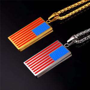 GUNGNEER Stainless Steel Square US America Flag Pendant Necklace Jewelry Accessories Gift
