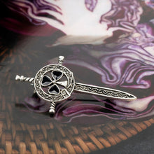 Load image into Gallery viewer, GUNGNEER Celtic Knots Trinity Love Stainless Steel Hair Pin Brooch Jewelry for Women
