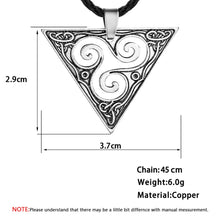 Load image into Gallery viewer, GUNGNEER Celtic Triskele Trinity Geometric Pendant Necklace Stainless Steel Braided Chain