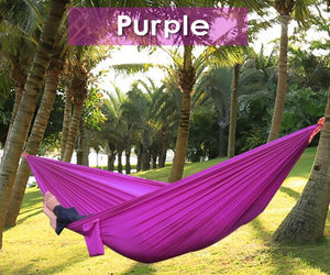 2TRIDENTS Nylon Camping Hammock - Lightweight Portable Hammock, Parachute Double Hammock for Backpacking, Camping, Travel, Beach, Yard (Purple+ Grey)