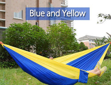 Load image into Gallery viewer, 2TRIDENTS Nylon Camping Hammock - Lightweight Portable Hammock, Parachute Double Hammock for Backpacking, Camping, Travel, Beach, Yard (Blue + Camel)
