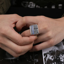 Load image into Gallery viewer, GUNGNEER Stainless Steel Rectangle American Flag Shaped Ring Jewelry Accessories Men Women
