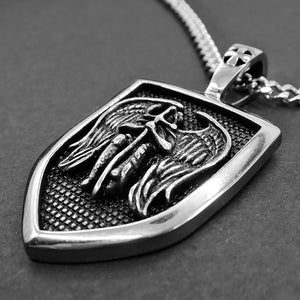 GUNGNEER Shield St Michael Necklace The Archangel Stainless Steel Jewelry For Men Women
