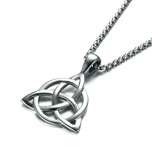 GUNGNEER Celtic Triquetra Pendant Necklace with Beaded Bracelet Stainless Steel Jewelry Set