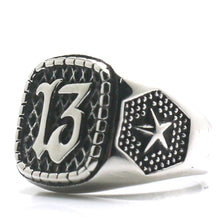 Load image into Gallery viewer, GUNGNEER 2 Pcs Stainless Steel Silvertone Lucky Number 13 Freemasons Biker Ring Jewelry Set Men