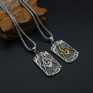GUNGNEER Masonic Pendant Necklace Mason Symbol Stainless Steel Jewelry For Men
