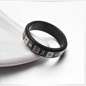GUNGNEER Stainless Steel Rotatable Rainbow Color Roman Numerals Number Ring Jewelry Men Women