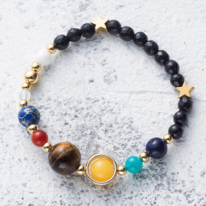 HoliStone Natural Mysterious Starry Planet Stone Lucky Charm Bracelet for Women and Men ? Yoga Meditation Healing Balancing Energy Bracelet