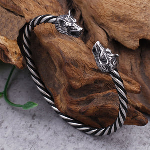 GUNGNEER 2 Pcs Norse Viking Wolf Heads Charm Bangle Bracelet Stainless Steel Jewelry Set