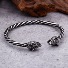 Load image into Gallery viewer, GUNGNEER 2 Pcs Norse Viking Wolf Heads Charm Bangle Bracelet Stainless Steel Jewelry Set