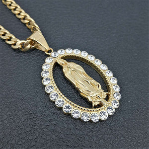 GUNGNEER Stainless Steel Mother of God Virgin Mary Crystal Pendant Necklace Chain Women Men